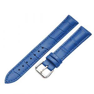 WSLCN Bracelet De Montre en Cuir Véritable Vintage Rétro Bracelet Montre de Grain Bande à Dégagement Rapide pour Homme Femme Bleu 13mm (light-in-the-dark, neuf)