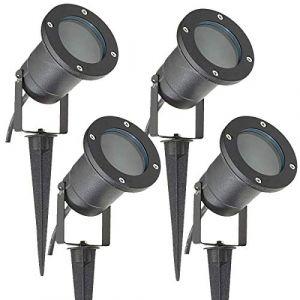 Long Life Lamp Company Lot de 4 Éclairage extérieur à piquer - Spot GU10 IP65 Noir mat (yadouqiandianzishangwu, neuf)