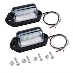 Justech 2pcs Feux Plaque Immatriculation Lampe Ampoule de Plaque Feu LED de Plaque d'Immatriculation 12V 24V Étanche pour Camion Camionnette Remorque Voiture Véhicule Caravane (Justecheu, neuf)