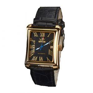 SEWOR Mens mécanique automatique Montre de mode de luxe en cuir cadran carré noir Montres-bracelets affaires (FYLove, neuf)