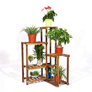 UNHO Étagère pour Plantes d'Angle en Bois de 6 Niveaux Support de Pots de Fleurs Jardinière Balcon Porte Pot de Plantes Extérieur Escalier de Rangement pour Plantes et Objets Décos - 60 x 60 x 100cm (medla, neuf)