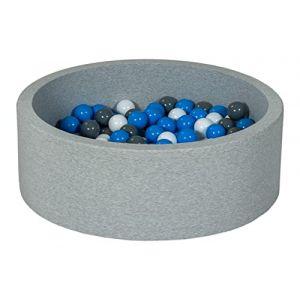 Velinda Piscine a balles pour Enfant, Aire de Jeu + 150 balles (Couleurs des balles: Blanc, Bleu, Gris) (ttm-sewing, neuf)
