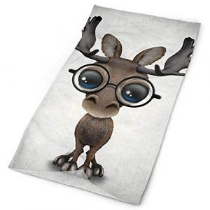 Mignon curieux bébé élan nerd portant des lunettes bandanas bandeau visage pour femmes hommes sport de plein air impression unilatérale (ALPHNJ, neuf)