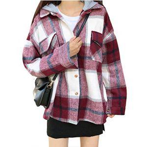 ORANDESIGNE Surchemise en Laine Carreaux décontracté Oversized Femme Bucheron Blouse Rouge et Blanc (Lonwell Fashion, neuf)