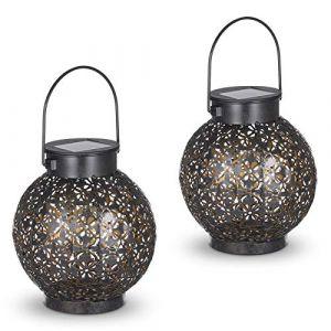 Lanterne Solaire, Tomshine 2 pièces LED Lampe lanterne extérieure, Etanche IP44, Sans fil Rechargeable pour Garden Patio Courtyard Extérieur [Classe énergétique A+] (Dailbox, neuf)