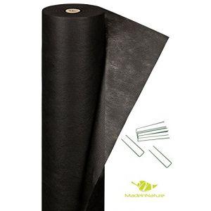 Géotextile noir + sardine biseautée anti pousse de mauvaises herbes / Géotextile pour pelouse synthétique / Dimensions aux choix / MadeInNature® (1x10 m) (cité de la déco, neuf)
