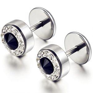 Flongo Acier Inoxydable Faux Diamant Boucle d'Oreille Clou d'Oreille Argent Unisexe Brillant Femme Homme (Flongo, neuf)