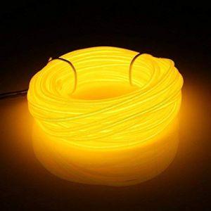 16 pieds 5m Portable EL Wire Fil néon Light Etincelant Fil Electroluminescent Rope 3 Modesavec la boîte à pile,Halloween, Noël, mariage, voiture, intérieur, extérieure décoration(Jaune) (San Jison, neuf)
