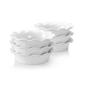 LOVECASA, Ramequin Dish en Porcelaine, Ramequin Moule à Soufflé Crème Brulée, Plaques à Dessert, Tarte, 6 Pièces 14cm x 200 CC (PRAISE SHEEN LIMITED, neuf)