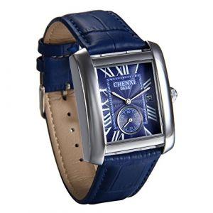 JewelryWe Montre Quartz Homme Calendrier Rectangulaire Cadran Romain Chiffre Seconde Cadran Indépendant Bracelet Cuir Alliage Cadran Couleu Bleu (JewelryWe Bijoux, neuf)