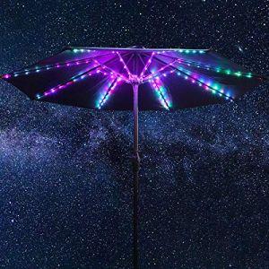 Guirlandes Lumineuses de Parapluie de Patio, 104 LED Lumineuses 12 Modes Lumière de Parapluie sans Fil à Piles, Lumières de Poteau Extérieures Étanches à Télécommande pour Tentes de Camping (GEEMIC EIC, neuf)