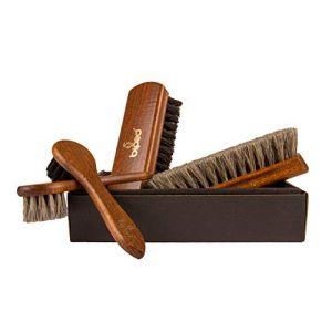 Die Schuhanzieher Ensemble de brosses à chaussures brillantes Classic Edition - Brosse de crins fabriqués en bois de hêtre z2487 (die-schuhanzieher, neuf)