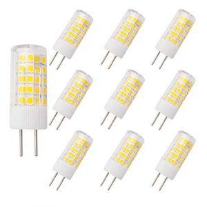 Grv Ampoule LED GY6.35 4 W AC 220V-230V 64-2835 SMD Ampoules en céramique pour cuisine, salon, salle de bain Miroir équivalent 40 W, blanc chaud, Lot de 10 (FRGRV, neuf)