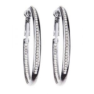 Boucles d'oreilles clips - Cerceaux gris avec des cristaux clairs- Créoles - Darva par Bello London (Bello London, neuf)