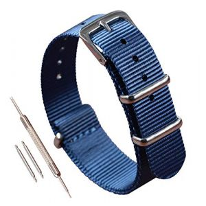 16mm Bleu Montre Bracelet NATO Nylon Mince de Remplacement Bande de Montre pour Femme Homme (colorfulinboxeu, neuf)