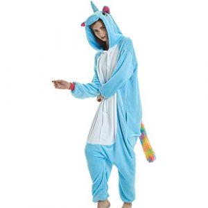 mauea Pyjama Animaux Cosplay Halloween Costume Déguisement Combinaison Vêtement de Nuit Adulte Femme Homme Unisexe (Bleu Licorne,M) (Mauea Shop, neuf)