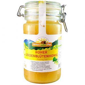 Le miel de tilleul brut d'ImkerPur, non filtré, non centrifugé ou chauffé, contient du pollen de fleurs, de la cire d'abeille, de la propolis, du pain d'abeille et de la gelée royale, 1 kg (ImkerPur, neuf)