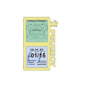 Générique Étui Double Assurance Peugeot Beige Porte Vignette Adhésif Voiture Stickers Auto Retro (Stickers-auto-retro, neuf)