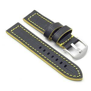 Dassari Flash Cuir crocodile Bracelet de montre en noir et jaune 22mm (strapsCo, neuf)