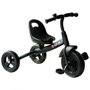 Homcom Tricycle Enfants Multi-équipé Garde-Boue Sonnette pédales antidérapantes siège avec Dossier Noir (Aosom fr, neuf)