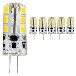 mengjay®, Lot de 5G4Lampe LED 4W, 3000K blanc chaud Ampoule LED 24SMD 2835LED Angle d'éclairage 360° CA 220V, G4, 3.50 wattsW, 12.00 voltsV (Mengjay, neuf)