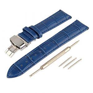 Beauty7 Bracelet du Montre 12mm Bande du Montre en Cuir de Vache Boucle Deployante en Acier avec Spring Bar Remplacement Bande de Poignet Etanche Bleu (WEIMOB, neuf)