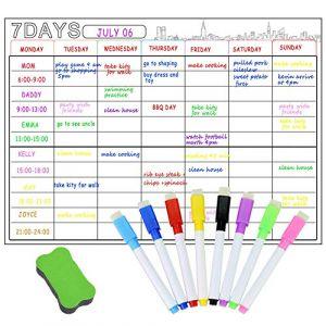 Calendrier magnétique A3 tableau blanc effaçable à sec pour réfrigérateur, planificateur hebdomadaire et mensuel, tableau blanc mémo avec aimant puissant pour calendrier, courses, listes (nongxingtianxia, neuf)