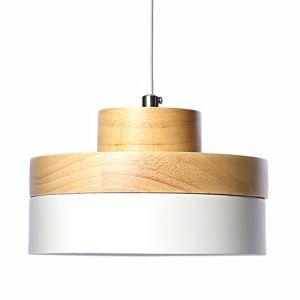 E27 Métal Moderne Suspensions Luminaires Industriel Retro Plafonnier Luminaire Lumiere Metal et Bois Luminaire éclairage Vintage Plafonnier Lustre Lampe (Blanc) (WanLianInc, neuf)