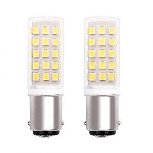 Ampoule Ba15D LED Baïonnette 220V 5W Machine Coudre, Double Contacts, Blanc Froid 6000K, 40W Lampe HalogèNe éQuivalent, Pour RéFrigéRateur/Machine à Coudre/Hotte Aspirante. Non Dimmable (Lot de 2) (PYRJIN, neuf)