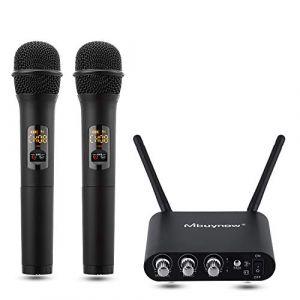 Microphone sans Fil,Mbuynow Microphone sans Fil UHF 10 Canaux avec 2 Micros à Main + 1 Récepteur pour Karaoké,Conférence,Fête,Réunion,Bar,Discours etc. (Urchoice, neuf)
