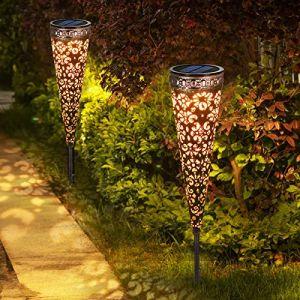 Lampe Solaire Jardin 2 Pièces, Görvitor IP65 étanche Lampe Solaire Exterieur Decorative, Lampe Solaire Exterieur Jardin pour Chemins Allée Terrasse Pelouse (KAITOR, neuf)