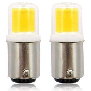 BA15D Ampoules LED, 220 V 4 W COB Ampoule Pygmée, Petite Baïonnette, Remplacement de 30 W Micro-onde/Hotte Aspirante/Réfrigérateur/Machine à Coudre SBC Ampoule, Blanc Froid 6000 K – Lot de 2 (ZHENMING-LED, neuf)