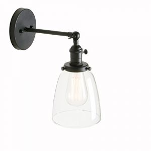 Pathson Réglable Applique Verre Cloche Abat-jour Lampe Rétro Industrial Applique Murale Rétro Eclairage Noir (Pathson (Europe), neuf)