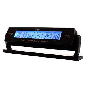 Thermomètre De Voiture LCD Horloge - 12-24V Multifonctionnel LCD Température Voltmètre Jauge Horloge Électronique Moniteur Alarme (ZZYangTianYuan, neuf)