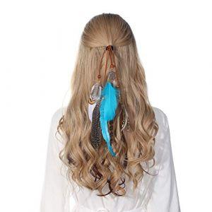 Bandeau en plumes coiffe hippie indienne - coiffes en plumes à gland Boho pour femmes Costume Festival chapeaux (Bleu) (anjerry, neuf)