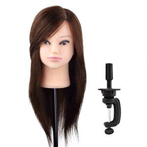Minliday 98cm 55,9cm 98% cheveux naturels Tête à coiffer Cheveux, poupées Mannequin Mannequin tête avec cheveux Pince de maintien (MINLIDAY, neuf)
