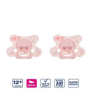 Difrax Dental Sucette 12-18 Mois, Lot de 2 Sucettes avec Tétine Silicone, Facilement À Accepter, un Apport Optimal d'Air, Confortable - Rose Oiseaux (Difrax, neuf)