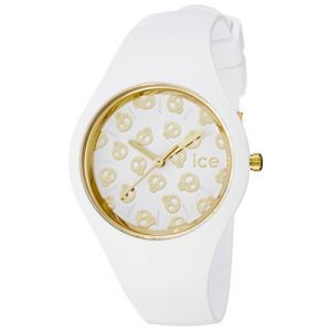 Ice-Watch - Ice Skull White Gold - Montre Blanche pour Femme avec Bracelet en Silicone - 001262 (Small) (UNIVERSAL TIME, neuf)