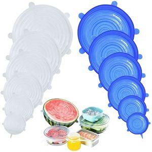 DigHealth 12 Pièces Couvercles en Silicone, Couvercle Extensibles en Silicone sans BPA, Couvercle Universel de 6 Tailles Differentes pour Micro-Ondes/Le Four/Le Frigo/Le Lave-Vaisselle (Changbenhui-EU, neuf)