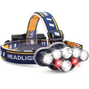 ALFLASH Lampe Frontale LED Rechargeable USB Torche Frontale 13000 Lumen 8 Modes pour la Sécurité Extérieure Randonnée Camping Chasse Escalade Vélo (ALFLASH, neuf)