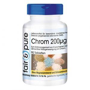 Chrome 200mcg de picolinate de chrome (III), 90 comprimés, sans additifs, végétarien (Fair & Pure, neuf)