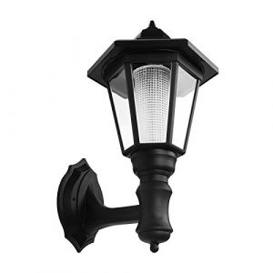 Onerbuy Solar Powered Outdoor LED Applique murale Lanterne Luminaire de sécurité monté sur le mur Garden Fence Yard Hexagonal Lamp (Blanc chaud) (Onerbuy, neuf)