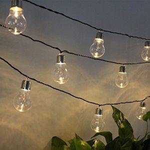 Feicuan Extérieure Solaire Guirlande Lumineuse 6m 20 G50 Bulbs lumière Waterproof Plastic Blanc chaud pour jardin Mariage Vacances Fête Decor (Ark Store, neuf)