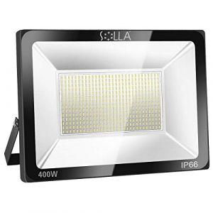 SOLLA Projecteur LED 400W, IP66 Imperméable, 32000LM, Eclairage Extérieur LED, Equivalent à Ampoule Halogène 2140W, 6000K Lumière Blanche du Jour, Eclairage de Sécurité (LED Floodlight, neuf)