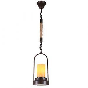 Dicai Américain Rural Tube Industriel Pendentif Lampe Chandelier Spotlight Restaurant Internet Cafe Brûleur De Fer Rétro Lampe Chanvre Corde Lumière Marbre Lustre Lanterne (Xin Hongming, neuf)