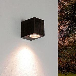 """Applique murale design""""carré"""" aalborg noir/doré/effet antique gU10 iP44 extérieur résistant aux intempéries (Licht-Erlebnisse, neuf)"""
