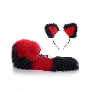 Serre-tête en fausse queue de renard et oreilles de chat Noir/rouge (Pavian, neuf)