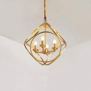 Dicai Lustre réglable classique à 4 lumières rétro créativité cuivre suspension luminaire métal luminaire luxe salon grange entrepôt plafond suspension lumière E14 (Xin Hongming, neuf)