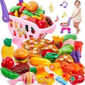 Buyger 31 Pièces Caddie Enfant Jouet Aliment Dinette Cuisine Chariot de Courses, Légumes Fruits Jouet à Couper, Lumière et Musique (SZMALL, neuf)