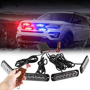 4x6 LED Voiture D'urgence Stroboscopique Balise S'allume 4 en 1 Montage en Surface Grill Lumière Avertissement Lumière Externe Avec Télécommande Sans fil Pour Camion Remorque DC12V Rouge&Bleu (TeguangmeiEUR, neuf)
